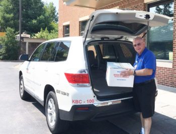 Volunteer couriers transport blood to local hospitals.